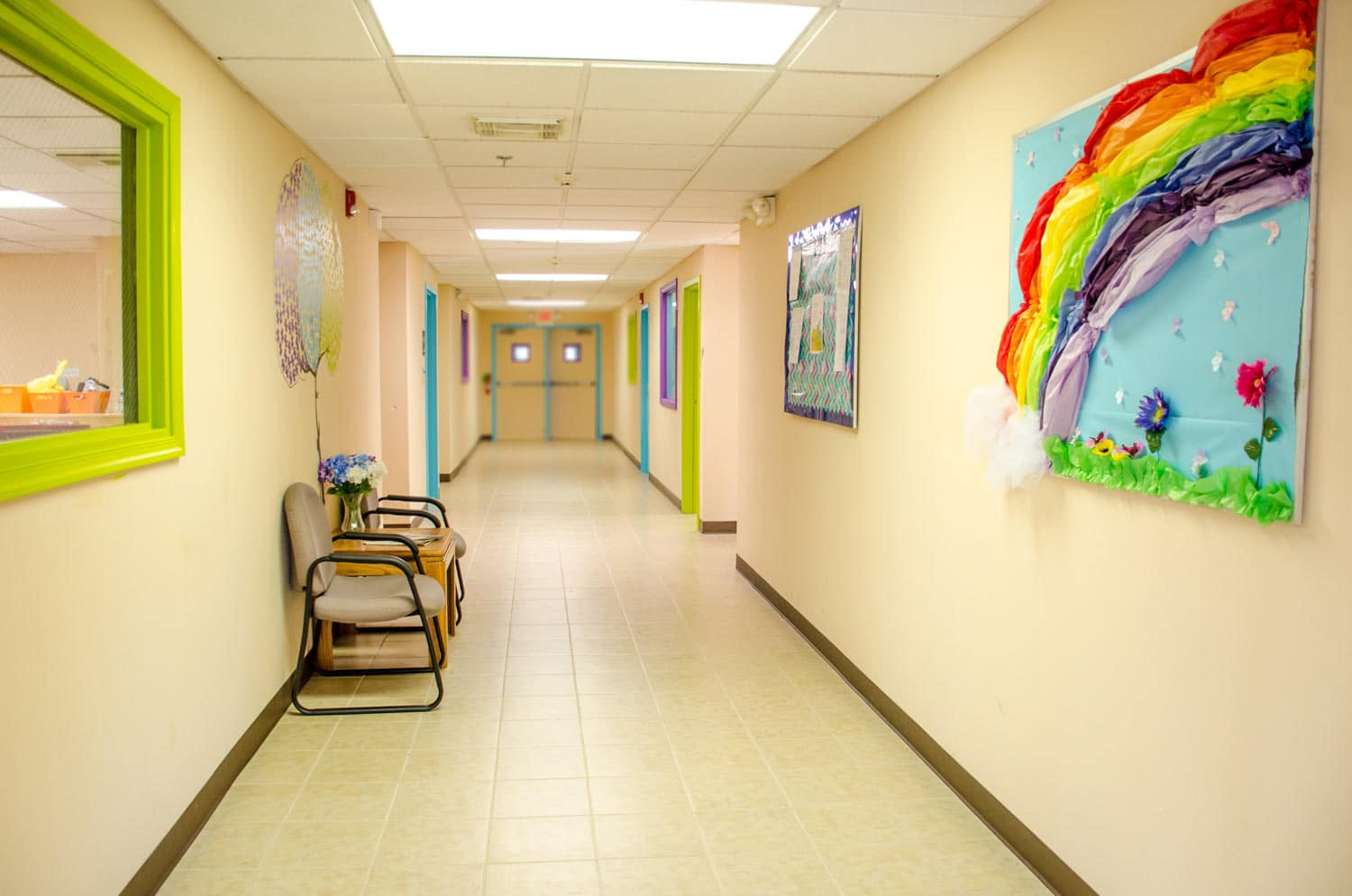 Hallway reception area (green window for snooping parents)